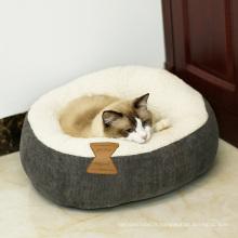 Grotte de chat lavable chaude de chat d'intérieur de maison de chat d'animal familier de velours côtelé