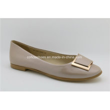 Flat Lady Leather Ballerina Shoes with Fashion Details