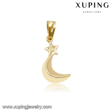 32519 xuping 14k gold simple moon shaped pendant