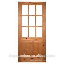 Puerta de vidrio interior con doble vidrio temoered de 5mm sólido Puerta de madera de pino diseño de puerta de vidrio de madera