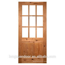 Interior glass door with double 5mm temoered glass solid Pine wood door wood glass door design