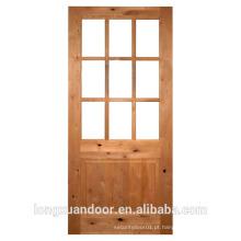 Porta de vidro interior com vidro duplo de 5 mm de vidro sólido Porta de madeira de pinho madeira porta de vidro design