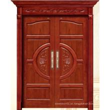 Porta de madeira dobro luxuosa com cinzeladura