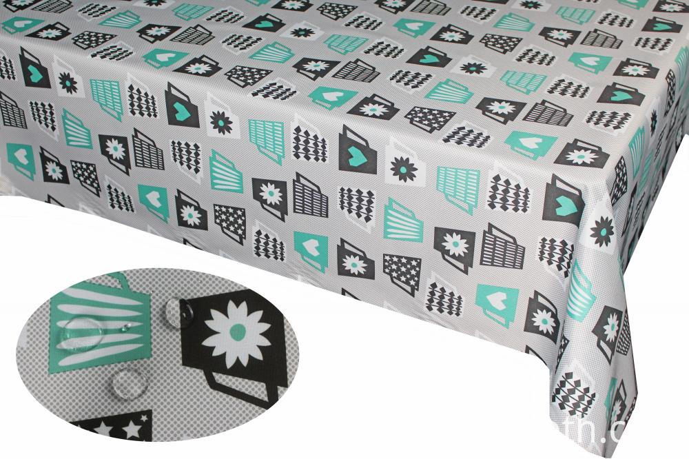 Oil Coating Printed Poly-cotton Tablecloth