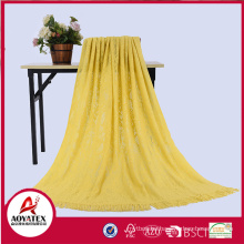 100% acrylic solid color knitted blanket with tassel