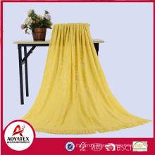 100% acrílico cobertor de malha cor sólida com borla