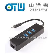 USB 3.1 Tipo C para Gigabit Ethernet Rede + USB 3.0 Hub Cabo de 3 portas Adaptador LAN