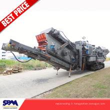 Machine concasseuse mobile d'agrégat de rendement élevé, usine concasseuse mobile de granit de pierre