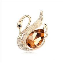 VAGULA Champaign Gold Crystal CZ Stone Silver Brooch