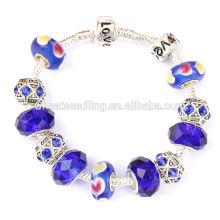 2015 prata banhado pulseira de vidro de murano beads european charme pulseira