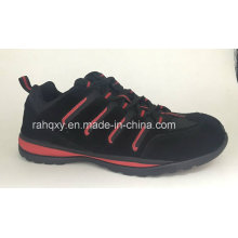 Black Suede Cemented Safety Shoes (HQH064)