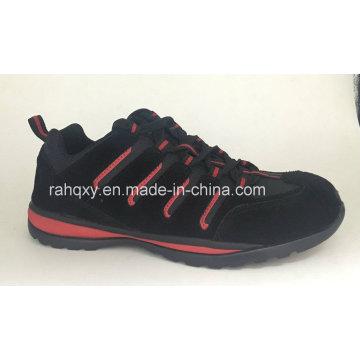 Cementado de ante negro zapatos de seguridad (HQH064)