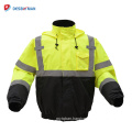 Economical Class 3 Waterproof Safety Jacket High Visibility Warm Workwear Front Zipper Closure