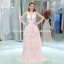 2017 venta caliente vestido de noche de la torta del color rosa piso longitud profunda cuello v suave rosa fiesta de cumpleaños vestido de fiesta vestido de noche