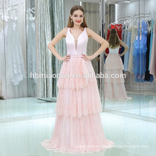 2017 hot sell pink color cake evening dress floor length deep v neck soft pink birthday party dress evening party dress