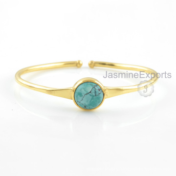 Turquoise Gemstone Bangle, 18k Gold Tibetan Turquoise Bangles Jewelry For Women