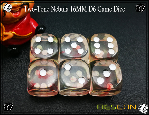 Two-Tone Nebula 16MM D6 Game Dice-7