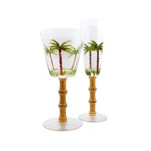 Handbemaltes Weinglas mit Bambusrahmen