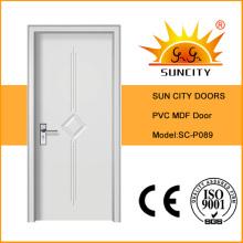 Белый цвет МДФ ПВХ межкомнатные двери (СК-P089)