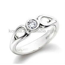 Mulheres 925 prata esterlina anel de noivado de diamante