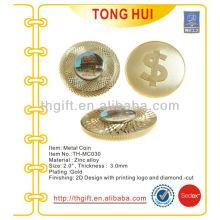 Alta calidad Tallando Metal Moneda conmemorativa, moneda de recuerdo