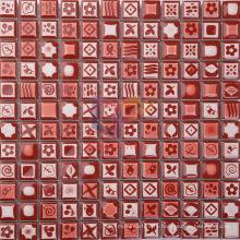 Red Glazed Flower Pattern Ceramic Mosaic Tiles (CST080)