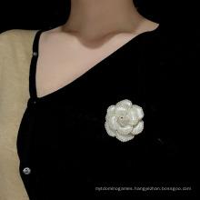 Korean Lovely Camellia Pearl Retro Personality Pin