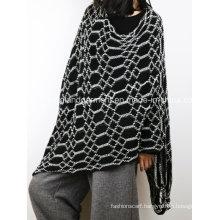 Acrylic Fashion Lady Winter Warm Gray Geometric Knitted Shawl