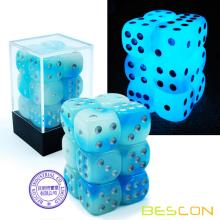 Bescon Two Tone Glowing Dice D6 16mm 12pcs Ensemble de CIEL ROCHES, 16mm à six faces pour dé (12)