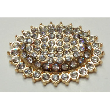 Ellipse Metal Decorative Buckles with Rhinestone