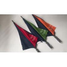 Blue and orange custom golf umbrella with logo printed