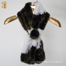 Fashion 2016 Genuine Rabbit Fur Knitted Women Scarf