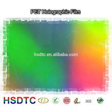 PET Metalizado Película holográfica Láser de alta calidad Película Modelo de arco iris