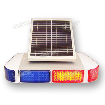 12V Solar-Power Blue Red LED Signal de signalisation de trafic Signal d'avertissement