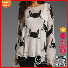 Neueste Design Damen Langarm Pullover Tier Intarsia Pullover