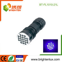Fabrik Großhandel 3 * AAA Batterie verwendet Aluminium 380-385nm Handheld Ultraviolett 21 führte uv Taschenlampe für Schmuck
