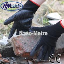 NMSAFETY fournisseur doublure en nylon noir enduit mousse nitrile avec des points sur les gants de travail de la paume