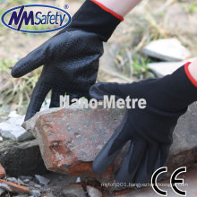 NMSAFETY supplier black nylon liner coated foam nitrile with dots on palm working gloves