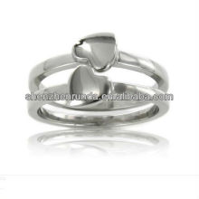 Wholesale Fashion Double Heart Rings for Women 304 Stainless Steel Jewelry Accessories