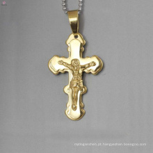 Top venda de aço inoxidável jesus pingente de cruz, pingente de cruz de ouro