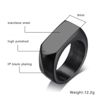 Mens Titanium Steel Kosong Permukaan Square Ring