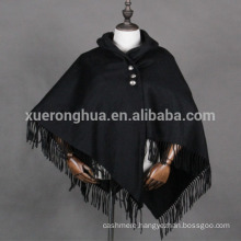 women cashmere poncho with hood