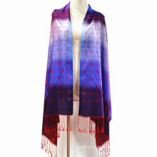 Mode Polyester Viskose glänzenden Quasten Truthahn Schal mit Jacquard