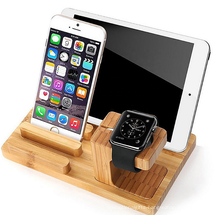 Bamboo Wooden Phone Charger Holder Stand  Multiple Devices Docking Place Cradle for I Phone IWatch IPad Charging Dock Station