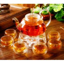 Hermoso diseño de cristal de té conjunto de utensilios de cocina de vidrio con filtro