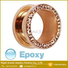 Rose Gold Plated Epoxy beschichtet Multi - Edelsteine Jewelled Edelstahl Ohr Flesh Tunnels