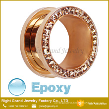 Rose Gold Plated Epoxy Coated Multi - gems Jewelled Stainless Steel Ear Flesh Tunnels