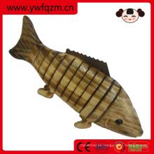 pez de carbonización de animales de juguete de madera pequeña