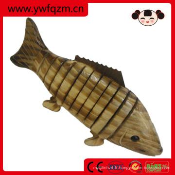 petit bois jouet animal carbonisation carpe poisson