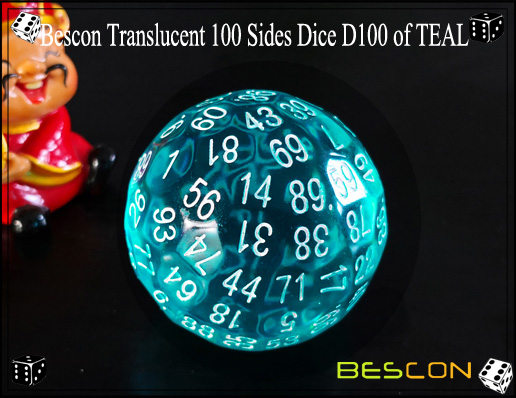Bescon Translucent 100 Sides Dice D100 of TEAL-3